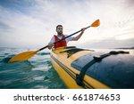 kayaking  canoeing  paddling.... | Shutterstock . vector #661874653