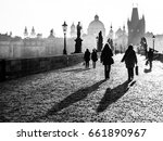foggy morning on charles bridge ... | Shutterstock . vector #661890967