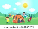 illustration of stickman kids... | Shutterstock .eps vector #661899097