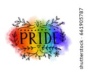 pride word on rainbow flag of... | Shutterstock .eps vector #661905787
