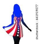 woman in american patriotic...   Shutterstock .eps vector #661919077