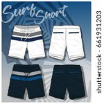 surfing shorts vector template | Shutterstock .eps vector #661931203