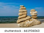 Two Sand Color Stone Stacks ...