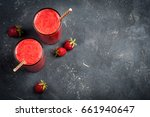 strawberry smoothie in glass on ... | Shutterstock . vector #661940647