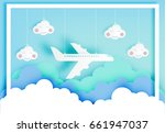 airplane aerial view paper art... | Shutterstock .eps vector #661947037