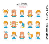 migraine symptoms icons set ... | Shutterstock .eps vector #661971343