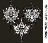 hand drawn vector lotus flower... | Shutterstock .eps vector #661978603