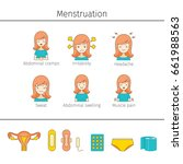menstruation symptom  outline... | Shutterstock .eps vector #661988563