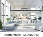 3d rendering. loft apartment... | Shutterstock . vector #662007043