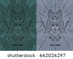 girl with wolf on your head | Shutterstock .eps vector #662026297