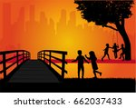 silhouettes of children playing. | Shutterstock .eps vector #662037433
