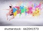 modern street dancer jumping... | Shutterstock . vector #662041573