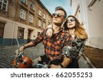 young attractive love hipster... | Shutterstock . vector #662055253