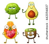 funny fruit characters isolated ... | Shutterstock .eps vector #662056837