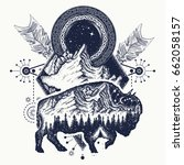 bison and mountains tattoo.... | Shutterstock .eps vector #662058157
