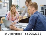 three young business people in... | Shutterstock . vector #662062183