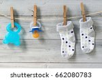 teether  baby pacifier and... | Shutterstock . vector #662080783