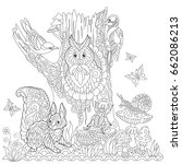coloring book page of forest... | Shutterstock .eps vector #662086213