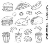 vector set of fast food hand... | Shutterstock .eps vector #662088847