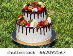 two tier cake with fresh...   Shutterstock . vector #662092567