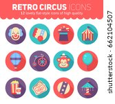 retro circus icons set for web... | Shutterstock .eps vector #662104507