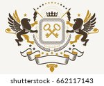 luxury heraldic vector emblem... | Shutterstock .eps vector #662117143