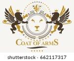 luxury heraldic vector emblem... | Shutterstock .eps vector #662117317