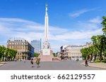 monument of freedom in riga ... | Shutterstock . vector #662129557