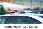 police car light bar in action  ... | Shutterstock . vector #662138887