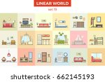 linear flat hall  kitchen  kid  ... | Shutterstock .eps vector #662145193