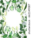 watercolor hand drawn white and ... | Shutterstock . vector #662149087