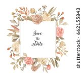 watercolor floral frame with... | Shutterstock . vector #662155843