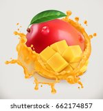 mango juice. fresh fruit  3d... | Shutterstock .eps vector #662174857