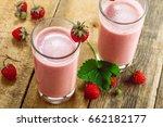 fresh strawberry milkshake on a ... | Shutterstock . vector #662182177