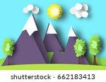 mountain scene paper world.... | Shutterstock .eps vector #662183413