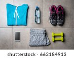 sport clothing and accessories... | Shutterstock . vector #662184913