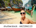 traveling in thailand. pretty... | Shutterstock . vector #662186113