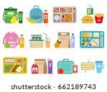 big set of school lunch boxes...   Shutterstock .eps vector #662189743