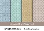 set of 4 seamless geometric... | Shutterstock .eps vector #662190613