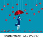 businesswomen under a coin rain.... | Shutterstock .eps vector #662192347
