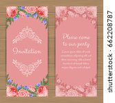 floral invitation or greeting... | Shutterstock .eps vector #662208787