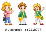 cute cartoon school kids | Shutterstock . vector #662218777