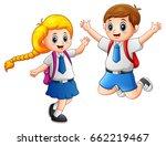 happy school kids in a school... | Shutterstock . vector #662219467