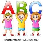 cartoon kids showing alphabets | Shutterstock . vector #662221507