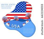 usa   world flag in paper cut... | Shutterstock .eps vector #662224033