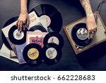 tattoo woman with music vinyl... | Shutterstock . vector #662228683