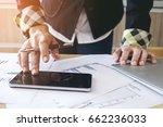female hand touching modern... | Shutterstock . vector #662236033