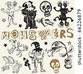 sketchy monstrous doodles ... | Shutterstock .eps vector #66226879