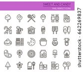 sweet and candy   thin line and ... | Shutterstock .eps vector #662269837