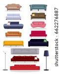 vector sofa couch modern... | Shutterstock .eps vector #662276887